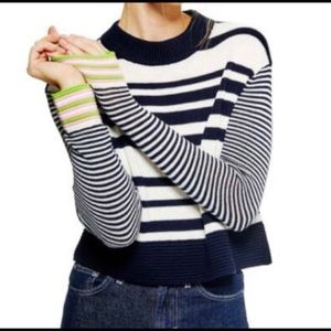 TOPSHOP / cash ottoman-stripe cropped sweater